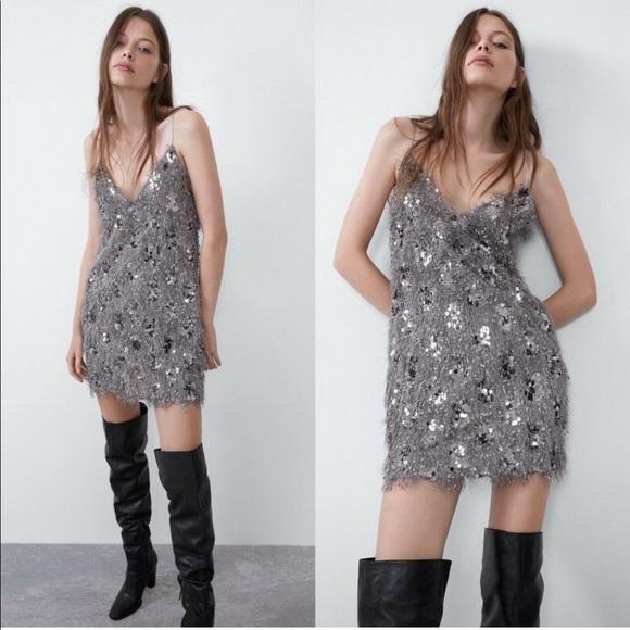 ZARA Fringe and Sequin Dress 🤍